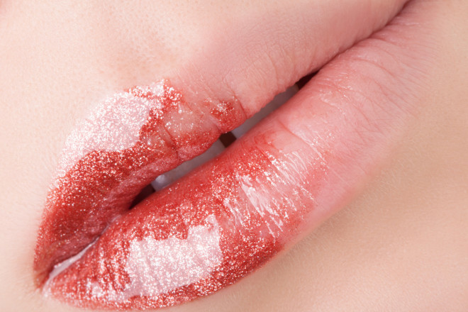 Bronze lips close-up.
