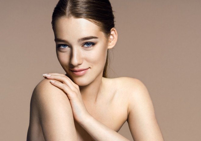 Beautiful girl with beautiful makeup, youth and skin care