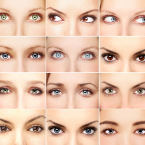 Twelve pictures of woman's eyes
