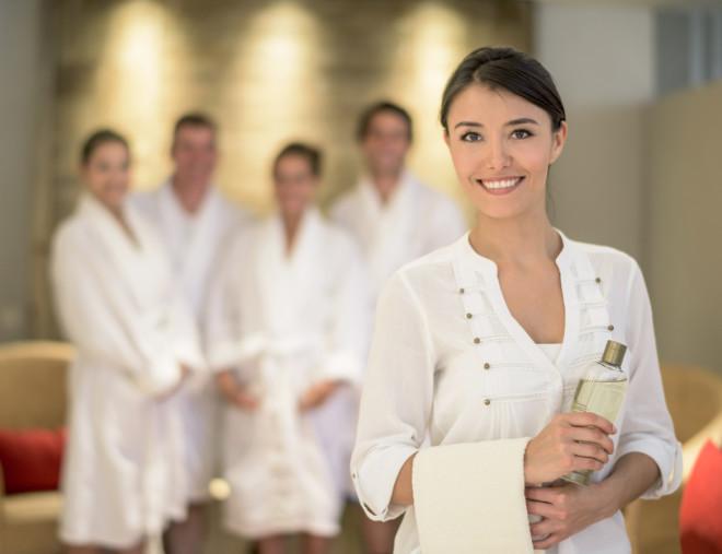 Woman masseuse at the spa