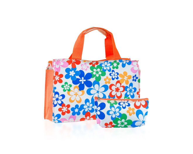 Flower pattern handbag and wallet isolated