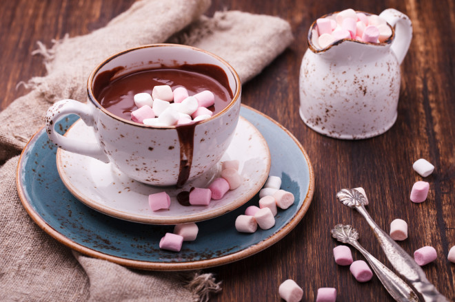 Hot chocolate with marshmallow.