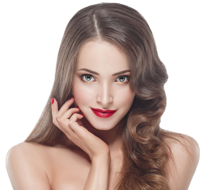 Woman portrait beauty red rose lips and nails