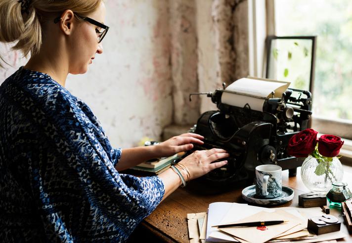 Woman Using Typing Retro Typewriter Machine Work Writer