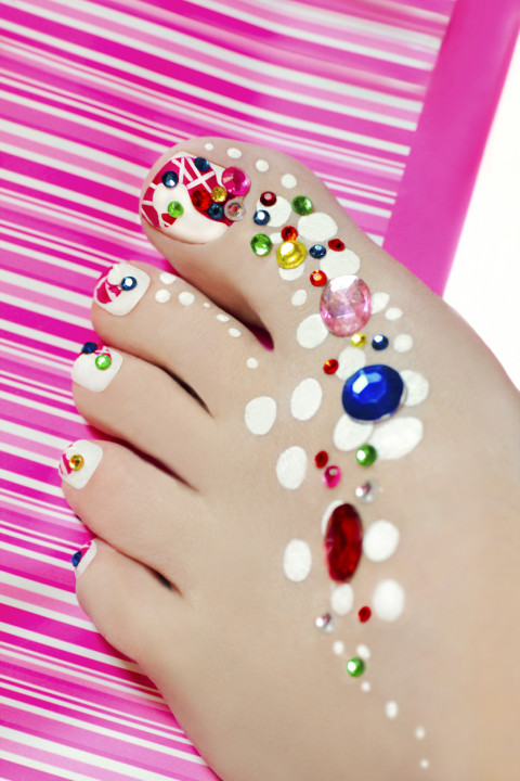 Pedicure with rhinestones.