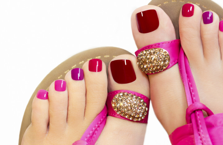 Pink pedicure.