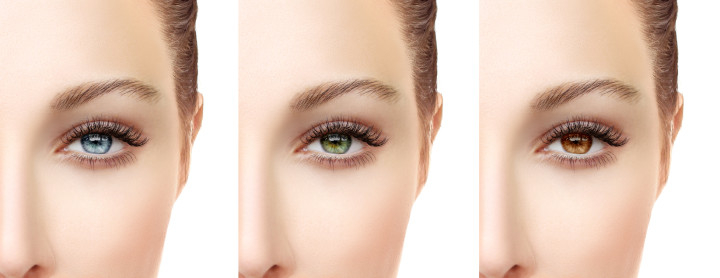 Beautiful female eyes  in color contact lenses