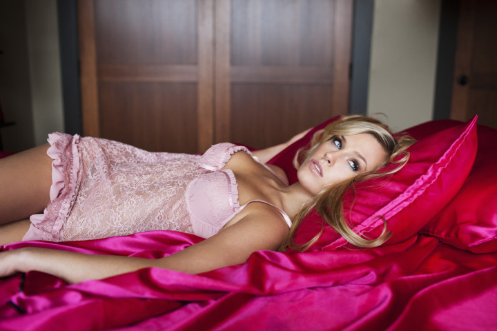 Beautiful Blond Young Woman in Pink Lingerie, Copy Space